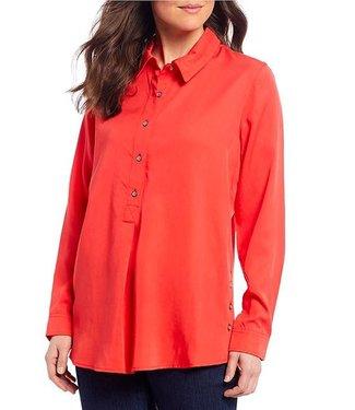 Multiples Hi-Low Side Button Shirt