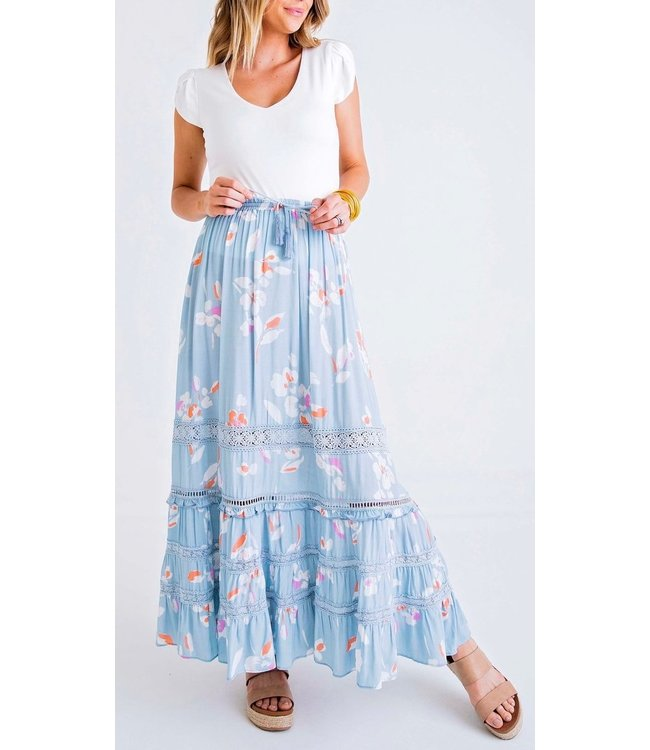 Karlie Abstract Floral Maxi Skirt
