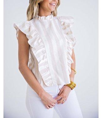 Karlie Stripe Linen Ruffle Top