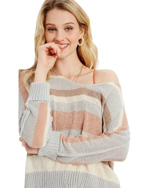 Wishlist Striped Side Slit Sweater