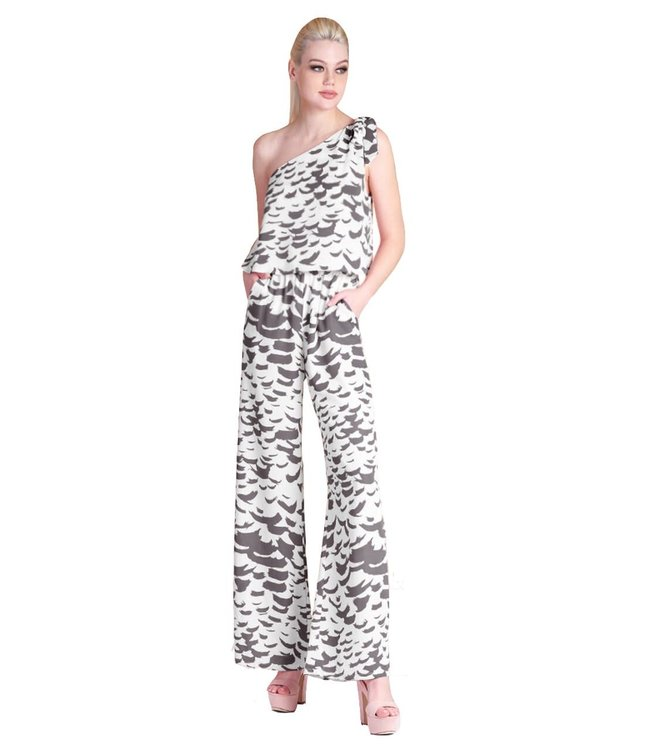 Tyche Falling Feathers Tie Shoulder Jumpsuit