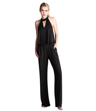 Tyche Soft Satin Choker Neck Jumpsuit