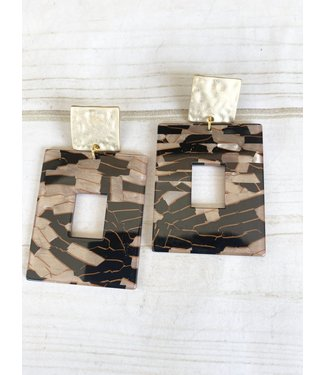Virtue Square Hammered Post Acrylic Earrings