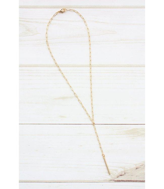 Virtue Paperclip Y-Drop Tube Necklace