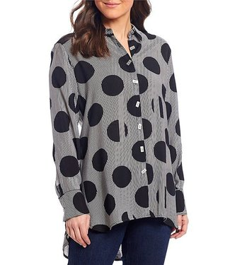 Multiples Striped Dot Oversize Button-Up Blouse