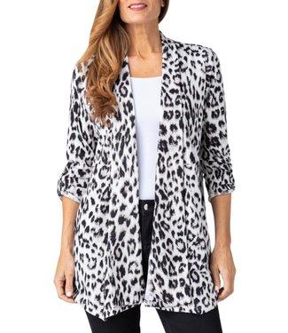 Multiples Shawl Collar Print Jacket