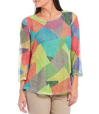Multiples Abstract Colorblock Mesh Top