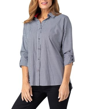 Multiples Checkered Blouse with Ring Back