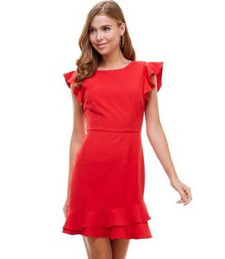 TCEC V-Back Ruffled Dress