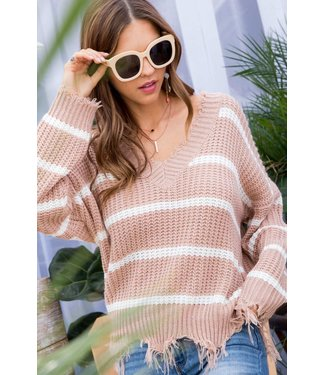 Main Strip Frayed Stripe Sweater