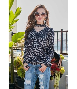 Main Strip Leopard Choker Top