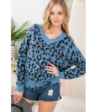 Main Strip Frayed Leopard Sweater