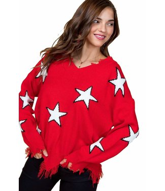 Main Strip Frayed Star Sweater