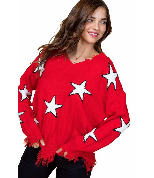 Main Strip Frayed Star Sweater