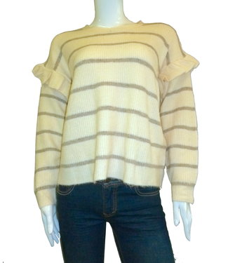 KLD Striped Ruffle Sleeve Sweater