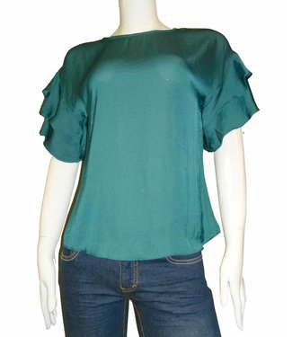 KLD Satin Double Ruffle Blouse