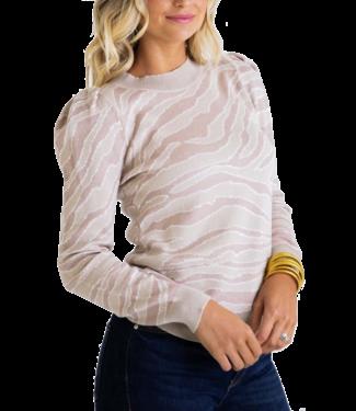 Karlie Zebra Puff Sleeve Sweater