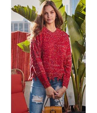 Main Strip Confetti Frayed Sweater