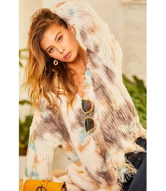 Main Strip Tie Dyed Frayed Oversized Sweater