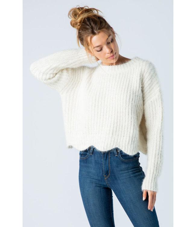 &Merci Mohair Scallop Hem Sweater