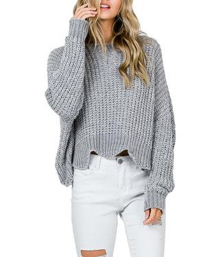 &Merci Wavy Hem Cropped Sweater