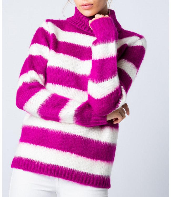 &Merci Striped Fuzzy Turtleneck Sweater