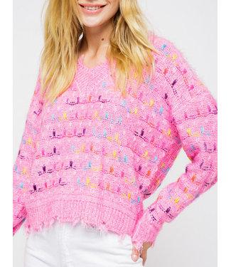 &Merci Distressed Confetti Sweater