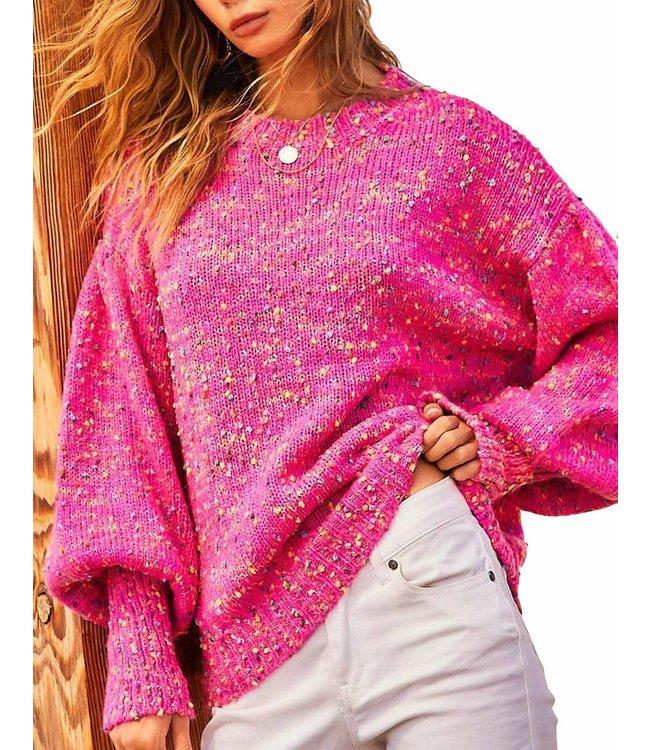 Main Strip Bubble Sleeve Oversized Confetti Sweater
