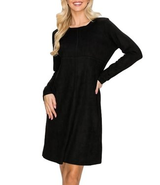 Joh Aurora Crew Neck Faux Suede Dress with Pockets