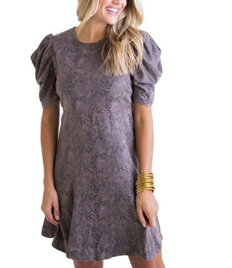 Karlie Snake Puff Sleeve Dress