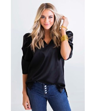 Karlie Karlie V-Neck Puff Sleeve Signature Top