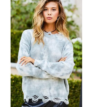 Main Strip Tie Dyed Distressed Edge Sweater