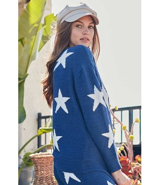 Main Strip Star Drop Shoulder Sweater