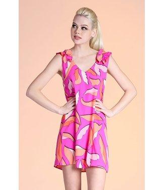 Tyche Leaf Ruffle Shoulder Dress
