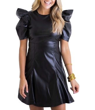 Karlie Pleather Puff Sleeve Dress