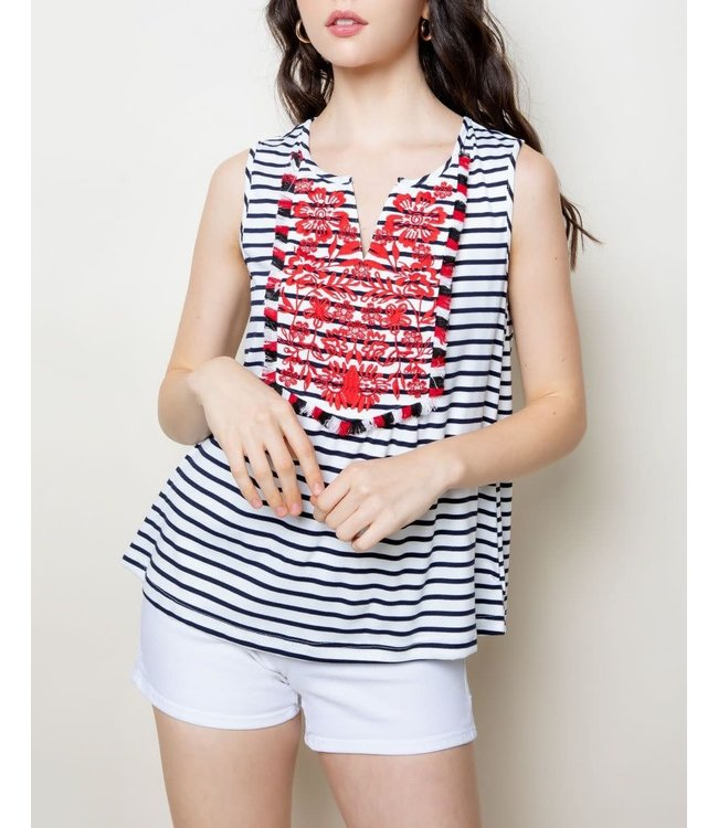 THML Stripe Embroidered Top