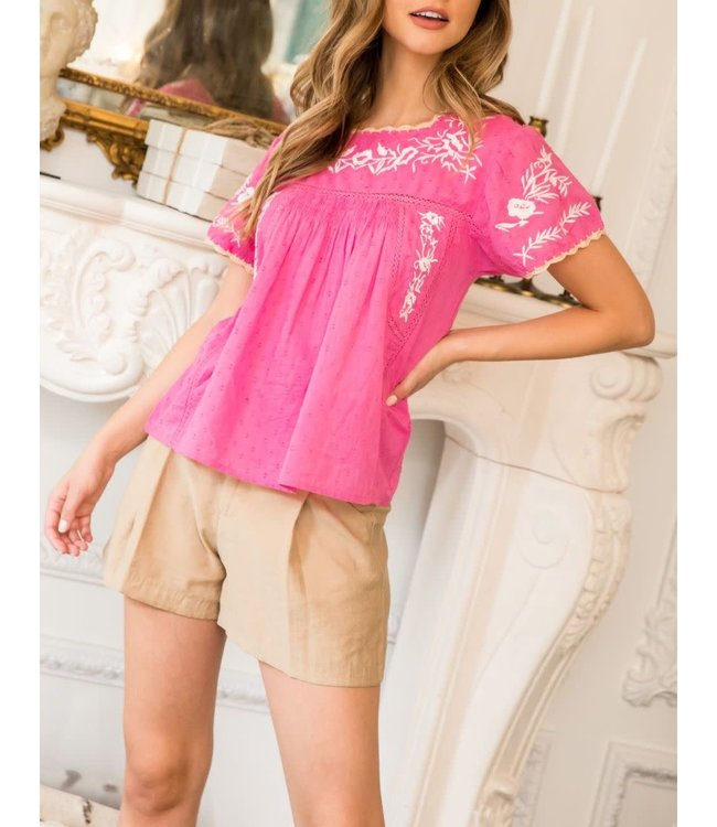THML Embroidered Babydoll Top