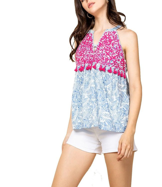 THML Embroidered Print Halter Top with Tassels