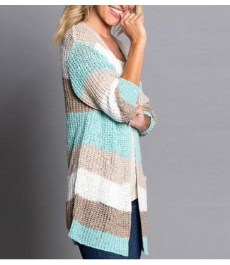 Multiples Beach Stripe Knit Cardigan Sweater