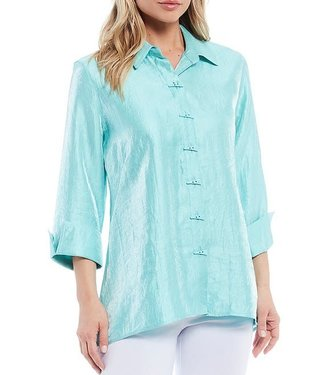 Multiples Button Front Hi-Low Shimmer Shirt