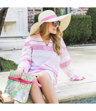 Royal Standard Cape Cod Stripe Tunic Cover Up in Hot Pink