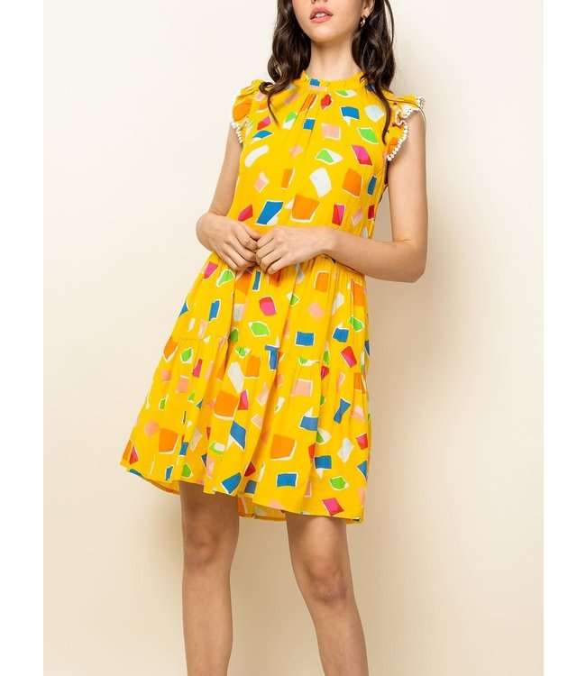 THML Tiered Ruffle Printed Dress