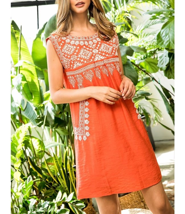 THML Sleeveless Embroidered Dress