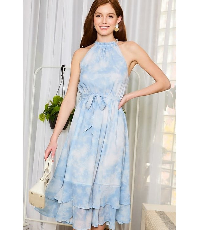 Main Strip Ruffle Neck Tie-Dye Midi Dress
