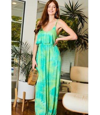 Main Strip Open Slit Tie-Dye Knit Maxi Dress