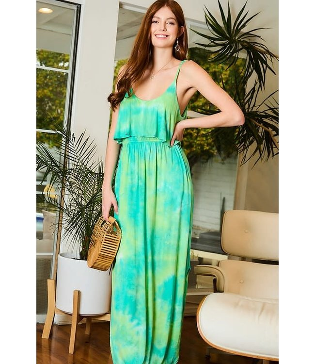 Main Strip Open Slit Tie-Dye Knit Maxi Dress