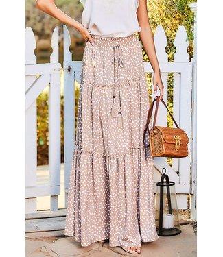 Main Strip Ruffle Tiered Maxi Skirt