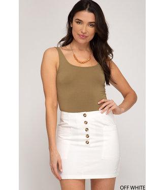 She & Sky Button Fly Twill Mini Skirt