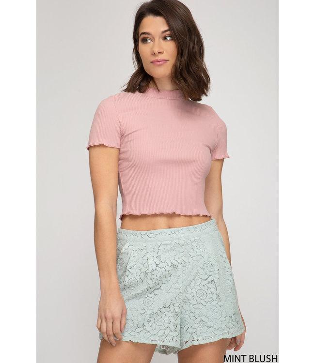 She & Sky Lace Shorts