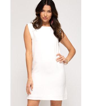 She & Sky Shoulder Padded Shift Dress